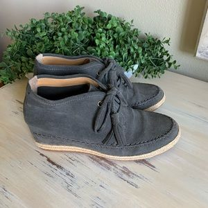 Crown Vintage Gray suede wedge